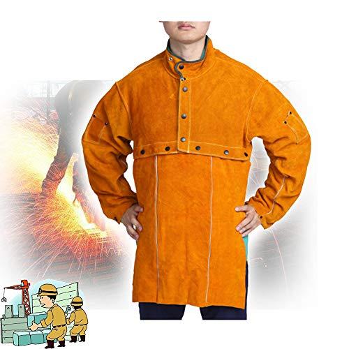 TBDLG Cowhide Flame Retardant Welding Apron,Jacket Workwear, Heat Resistant Functional Used in Industry, Welder, Carpenter, Workshop, Decoration, Painter, Unisex,XL