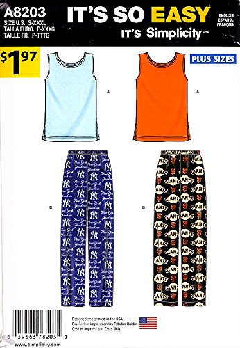 Simplicity Mens Womens Pattern - Simplicity Sewing Pattern A8203 8203 Easy Women's Mens Sizes S-XXXL Tops Pajama Pants