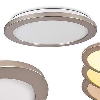 Fasola LED Deckenleuchte dimmbar Glitzereffekt - Runde Zimmerlampe IP 44  für Badezimmer - LED 18 Watt - 1200 Lumen - 3000 Kelvin - Kunststoff ...