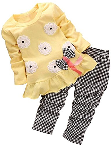 Adorable Cute Toddler Baby Girl Clothes Set Long Sleeve 2pcs Outfits Fall Clothes(Yellow,Age 3T)