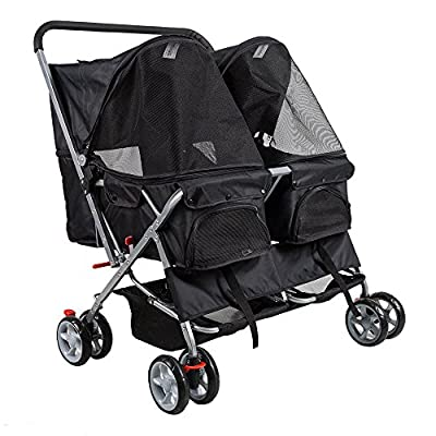 KARMAS PRODUCT 4-Wheel Twin Double Pet Stroller Cat Dog Walk Travel Folding Carrier For 2 Pets