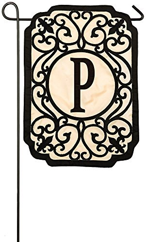 Evergreen Flag Filigree Monogram P Applique Garden Flag, 12.5 x 18 inches