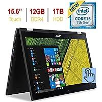 Newest Acer Spin 3 2-in-1 15.6'' Touchscreen FHD 1080p IPS Laptop PC, 7th Gen Intel i5-7200u 2.50GHz, 12GB DDR4 SDRAM, 1TB HDD, Bluetooth, 802.11ac WiFi, HDMI, Webcam, Backlit Keyboard, Windows 10