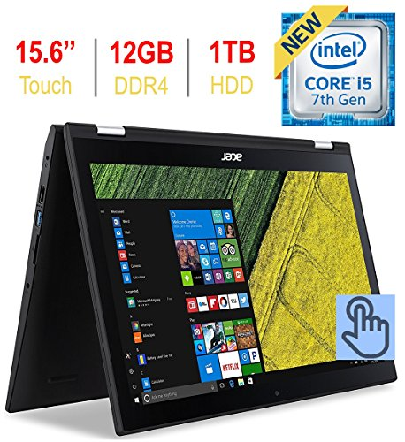 Newest Acer Spin 3 2-in-1 15.6'' Touchscreen FHD 1080p IPS Laptop PC, 7th Gen Intel i5-7200u 2.50GHz, 12GB DDR4 SDRAM, 1TB HDD, Bluetooth, 802.11ac WiFi, HDMI, Webcam, Backlit Keyboard, Windows 10