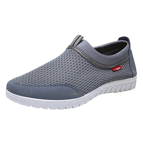 Jamron Men's Big Size Summer Breathable Mesh Slip On Sneakers Damping MD Outsole Fitness Shoes Grey SN01063 US11.5 Review