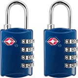 TSA Luggage Locks (2 Pack) - 4 Digit Combination Steel Padlocks - Approved Travel Lock for Suitcases & Baggage - Blue