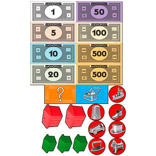 2013 Monopoly Game - 7 in. to 10 in. Monopoly Game Piece Cutouts Set Standup Photo Booth Prop Background Backdrop Party Decoration Decor Scene Setter Cardboard Cutout
