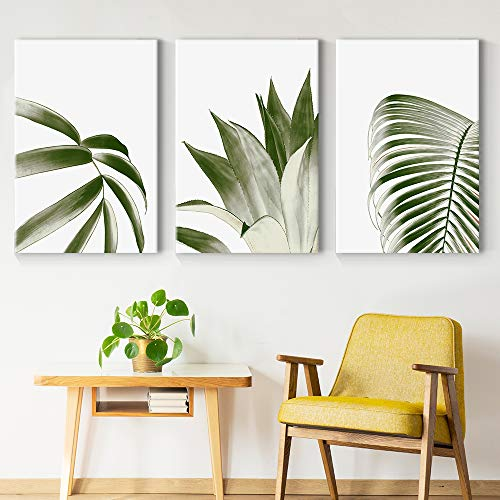 Wide Green Leaves Painting Artwork for Home Framed x 3 Panels