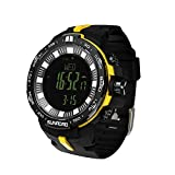 SunRoad Sports Outdoor Waterproof Digital Men Barometer Alimeter Watch-Fishing Index Altimeter Compass Thermometer Temperature Weather Forecast Wristwatch (Yellow)