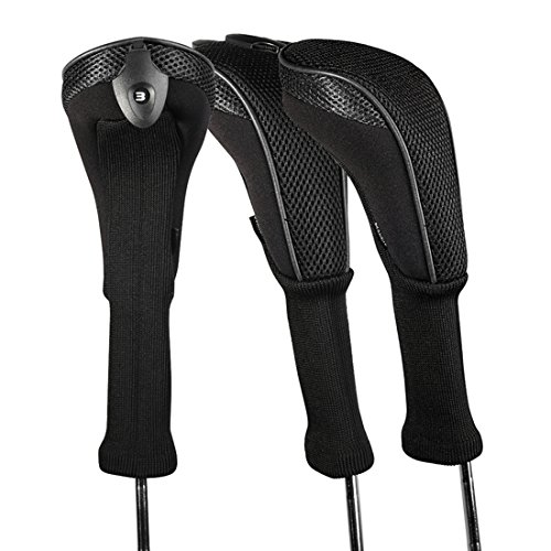 Andux 3 Pack Long Neck Golf Hybrid Club Head Covers Interchangeable No. Tag CTMT-01 (Black)