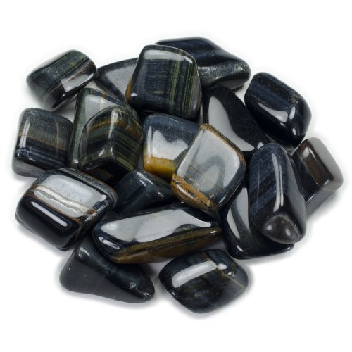 Hypnotic Gems Materials: 1lb Bulk Tumbled Blue Tigers Eye Stones from South Africa - Natural Polished Gemstone Supplies for Wicca, Reiki, and Energy Crystal HealingWholesale Lot ()