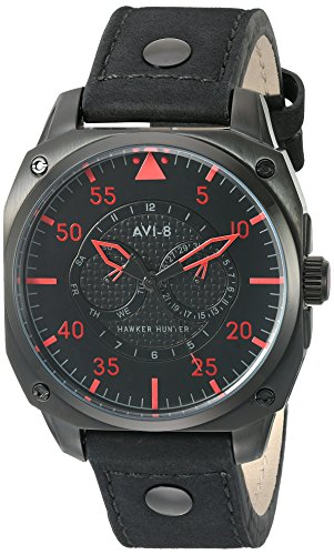 AVI-8 Men's AV-4009-03 Hawker Hunter Analog Japanese-Quartz Black Watch