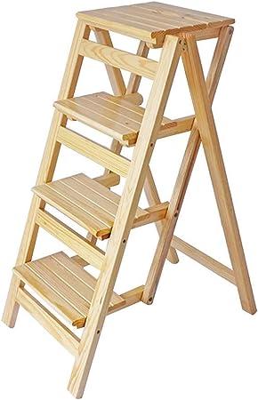 Escalera plegable de 4 peldaños, taburete de bar portátil para escaleras domésticas, taburete de madera, adecuado para niños y adultos, herramientas de jardinería doméstica, servicio pesado y máxima durabilidad. 150 kg, madera: