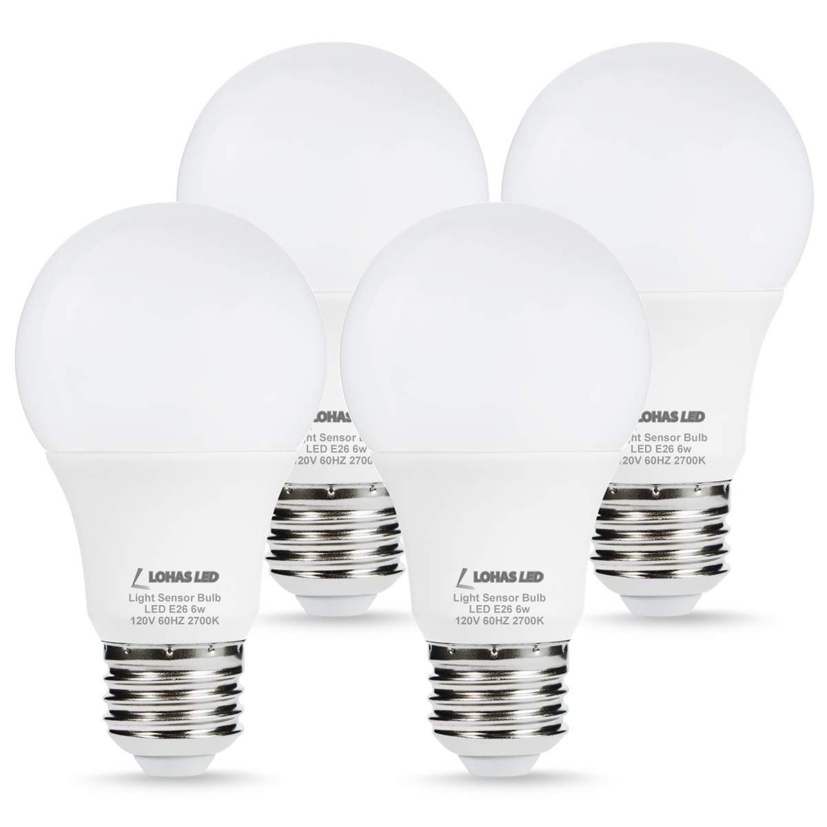 Lohas Led Sensor Light Bulb Dusk To Dawn Front Porch Lights A19 Smart Bulbs 40 Watt Equivalent E26 Base Warm White 2700k Automatic Security