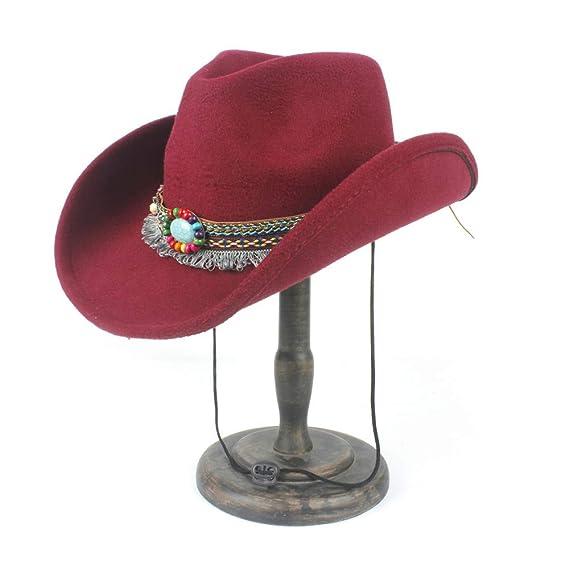 Amazon.com  Fashion Women Wool Hollow Western Cowboy Hat Elegant Tassel  Band Fascinator Hombre Caps Keep Warm (Color   Beige b96bff22f177