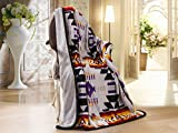 Southwest Design (Navajo Print) Sherpa Lined Throw 16112 Grey