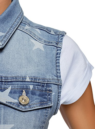 Chaleco Vaquero con 7010w Mujer Azul Estrellas Estampado Ultra oodji tPxaqwSx
