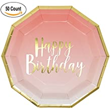 50 Count Pink and Gold Birthday Party Plates Disposable Dinner 9 inch Happy Birthday Gold Foil on Pink Ombre Party Supplies for Baby Shower Babys 1st Birthday Unicorn Party and More