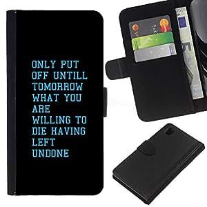 KingStore / Leather Etui en cuir / Sony Xperia Z1 L39 / Ma?ana Dispuesto motivación inspiradora