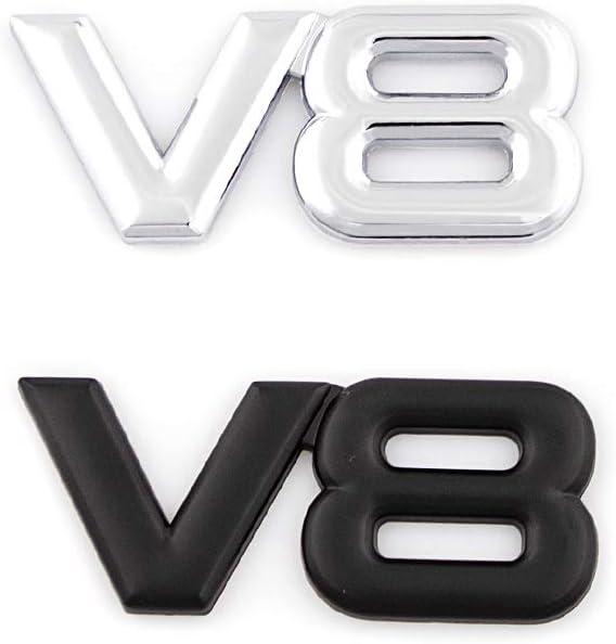 Black CARRUN 2Pcs V8 Emblems Premium Car Decoration Badge Emblem Sticker For Mustang