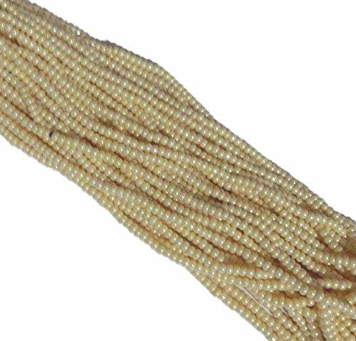 Light Cream Ceylon Pearl Czech 6/0 Seed Bead Loose Strung 6 String Hank Aprx 900 -