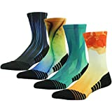 Funky Outdoor Crew Socks HUSO Performance Athletic Socks for Running, Tennis, and Casual Use 4 Pairs for Men Women (Multicolor, L/XL)