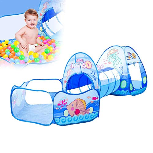 3-in-1Kids Play Tent Crawl Tunnel Playhouse Tent with Basketball Hoop Activity Gym OceanBallPool Girls Boys Babies Toddlers with Carrying Case Ball Pit Cartoon Pop up