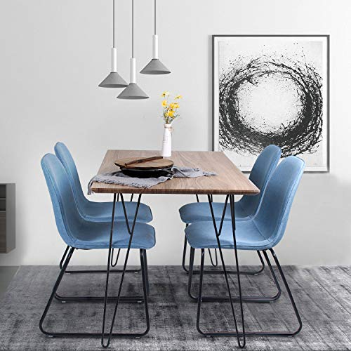 jeffordoutlet Dining Table Kitchen Wooden Top with Metal Legs Rectangle Table Modern 4-6 Member Family Furniture