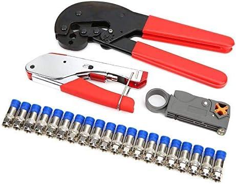 プライヤーツールネットワークプライヤーセット、Fタイプ多機能ケーブルクリンパースクイズプライヤー同軸ケーブル用ワイヤーストリッパーRG59 RG6
