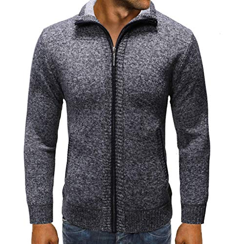 GREFER Outwear Mens Slim Fit New Coats - Winter Warm Zippered Cardigan Sweater - Classic Pure Color Coat Jacket Dark Gray