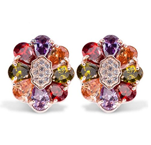 Plated Multi Color Elements Crystal Fashion Bridal Clip On Earrings-