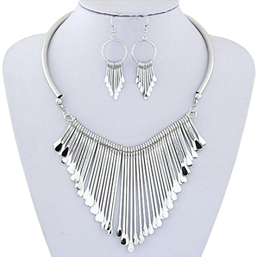 [Necklace, Hatop Luxury Womens Metal Tassels Pendant Chain Bib Necklace Earrings Jewelry Set] (Horse For Sale Costume)