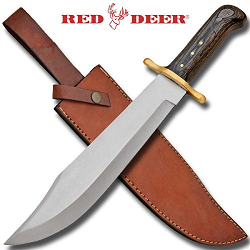Red Deer 17 Inch Bowie Knife White Acrylic Handle with Real Leather Sheath - White Steel Handle Leather Sheath