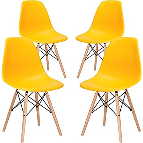 Poly and Bark EM-105-NAT-YEL-X4 Eames Style DSW Side Chair with a Natural Base (Set of 4), Yellow (Yellow Room Chairs)