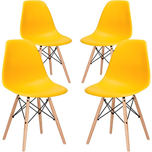 Poly and Bark Modern Mid-Century Side Chair with Natural Wood Legs for Kitchen, Living Room and Dining Room, Yellow (Set of 4) (Yellow Chair Ghost)