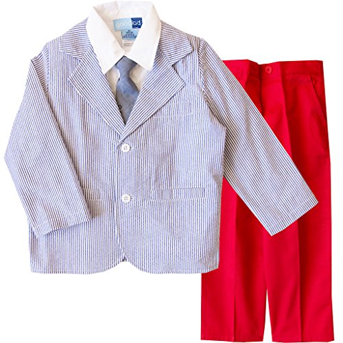 Good Lad 2/7 Boys Suit-Seersucker Jacket with Twill Pant (6, Navy)
