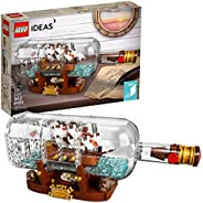 LEGO Ideas Ship in a Bottle 21313 Expert Building Kit, Snap Together Model Ship, Collectible Display Set and T