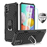 Samsung Galaxy A51 Case with [2 x Tempered Glass Screen Protector] [ Military Grade ] 15Ft. Drop Tested Armor Protective Phone Case with Magnetic Car Mount Ring Kickstand for Galaxy A51 (Black)