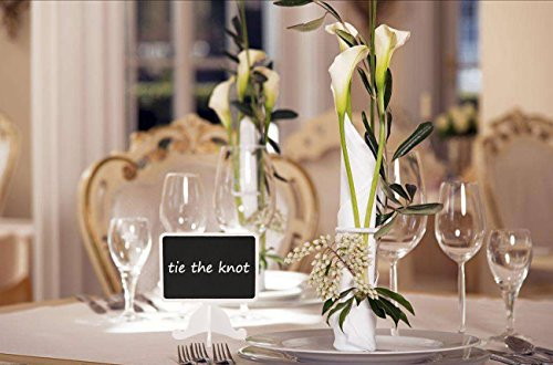 Dedoot Mini Rectangle Chalkboards Signs Stand, Pack of 20 Wood Small Chalkboard Place Cards with Easel Stand, Perfect for Daily Home Decoration, Weddings, Party, Table Numbers, Food Signs - White by Dedoot (Image #5)