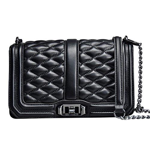 High Genuine Cowhide Messenger Female end Shoulder Chain Totes Handbags black2 Black3 Leather Gshga Bag XqpSwc0