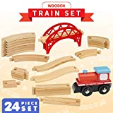 Wooden Train Tracks Set with Train and Bridge -24 Piece Set - 100% Compatible with All Major Brands - Brio Thomas Chuggington