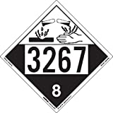 Labelmaster ZEZ43267 UN 3267 Corrosive Hazmat Placard, E-Z Removable Vinyl (Pack of 25)