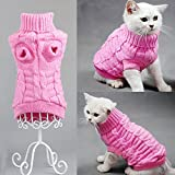 Bro'Bear Cable Knit Turtleneck Sweater for Small Dogs & Cats Knitwear (Pink, Medium)
