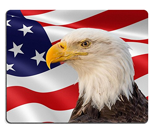(MSD Mouse Pad Unique Custom Printed Mousepad Eagle USA Flag Patriotic Freedom America Stitched Edge Non-Slip Rubber 9.8x7.9-Inch)