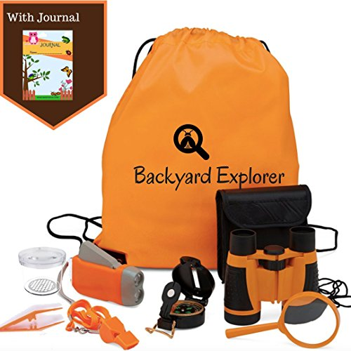 Kids Binoculars Outdoor Explorer Kit - Magnifying Glass, Flashlight, Whistle, Compass, Journal and bag - Camping, Hiking, birdwatching, Nature Exploration Playset - Boys Girls Science Toy Gift - Kid Science Worm