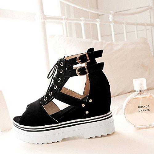 COOLCEPT Mujer Moda Cordones Sandalias Punta Abierta Correa de Tobillo Zapatos Negro
