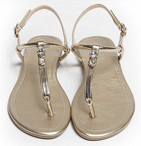 T Sandals Women Gold IDIFU Shoes ZqP4acWB
