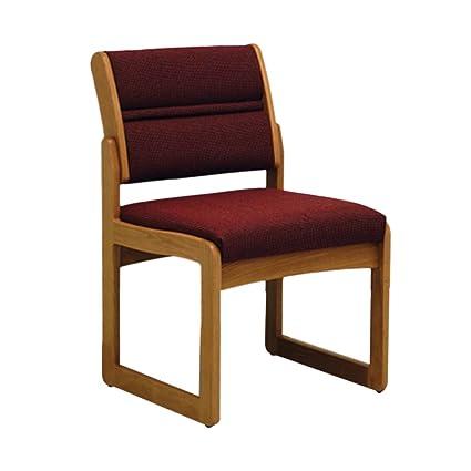 Wooden Mallet Sled Base Valley Armless Guest Chair, Medium Oak, Cabernet  Burgundy