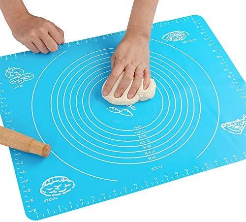 Silikon-Backmatte für Teig, mit Messungen, hitzebeständige Tischunterlage, Backbrett, wiederverwendbar, antihaftbeschichtet, ungiftig und FDA-genehmigt