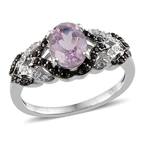 Kunzite Ring (Kunzite, Multi Gemstone Platinum Plated Silver Ring 1.95 cttw. Size 7)